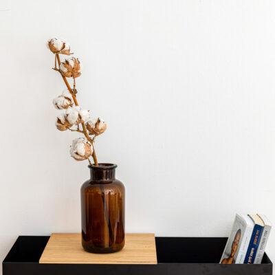 אגרטל וינטג' עם ענף כותנה
